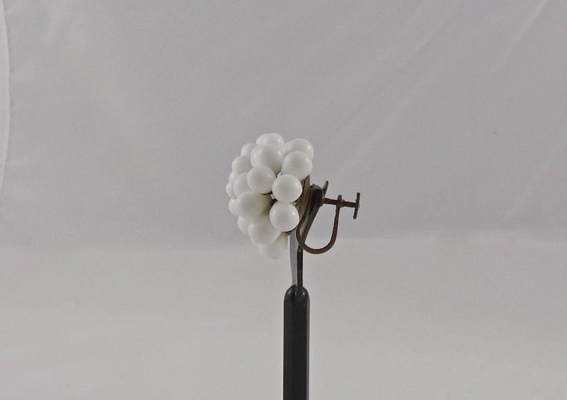 Vintage White Earrings Milk Glass Screw Back Earrings Germany