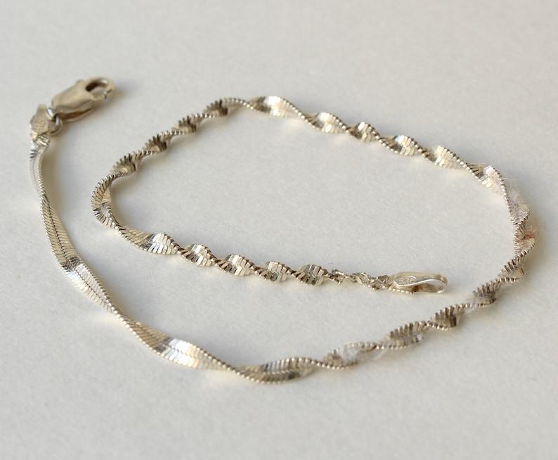 Vintage Sterling Silver Bracelet Twisted Cable Link