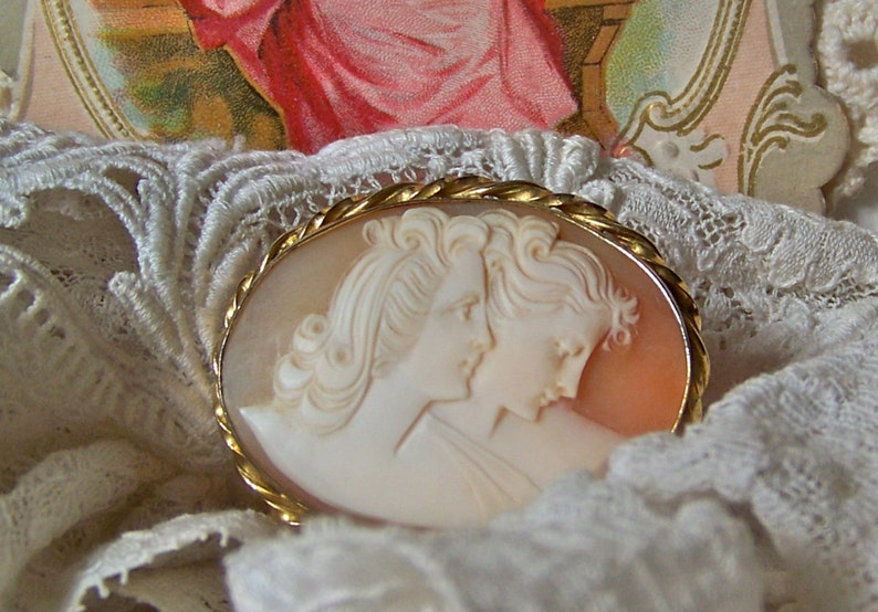 Vintage Sisters Cameo Brooch 12K Gold Filled Signed