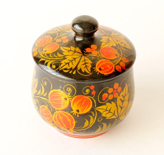 Vintage Trinket Box Hand Painted Lacquered Box Cr… - image 4