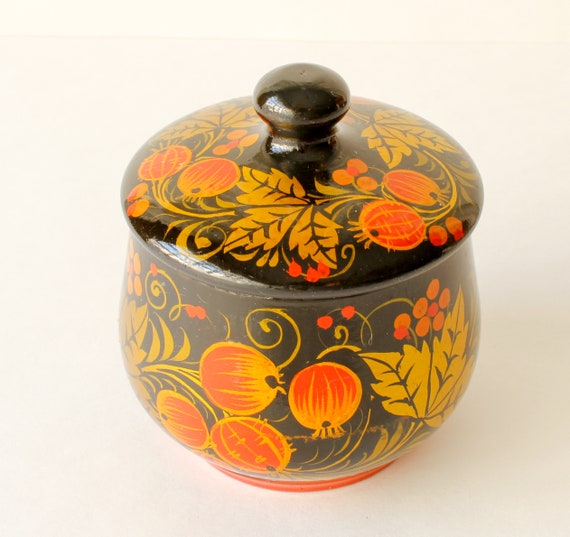 Vintage Trinket Box Hand Painted Lacquered Box Cr… - image 2
