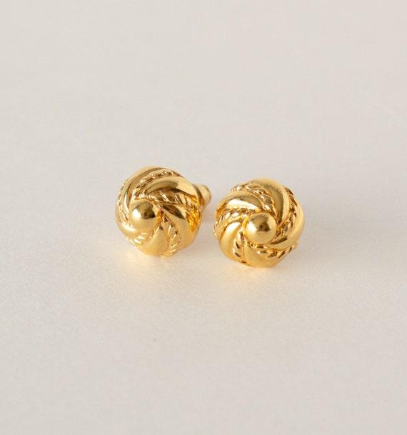 Vintage Monet Gold Swirl Stud Earrings - image 2