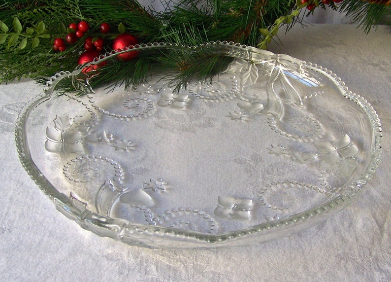 Vintage Serving Plate Dessert Platter Christmas Bow Design