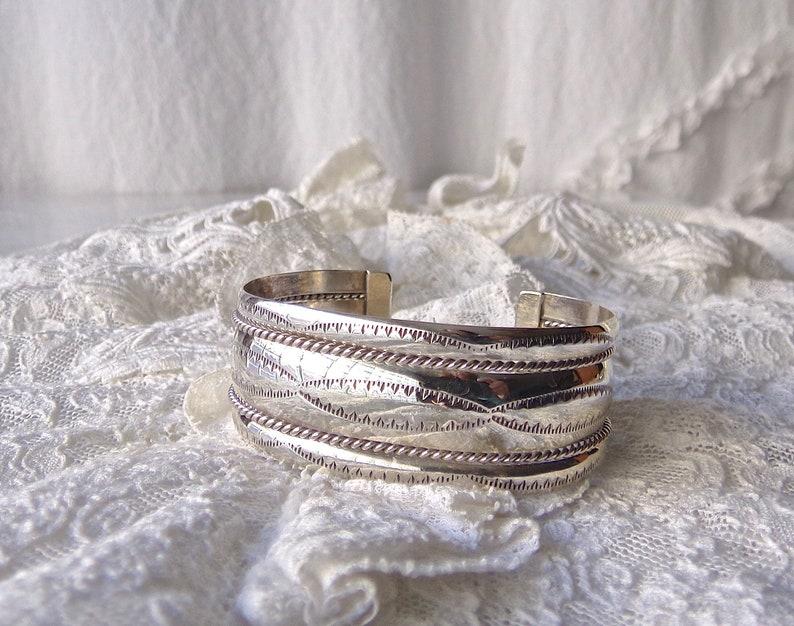 Vintage Cuff Bracelet Sterling Silver Signed