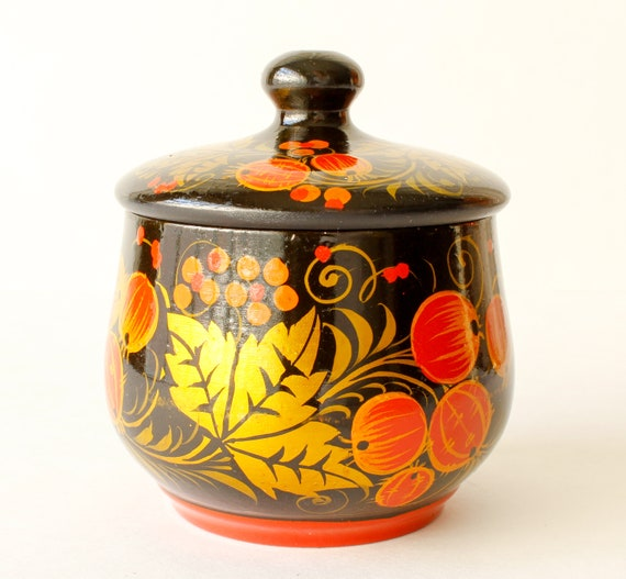 Vintage Trinket Box Hand Painted Lacquered Box Cr… - image 1