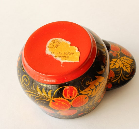 Vintage Trinket Box Hand Painted Lacquered Box Cr… - image 5