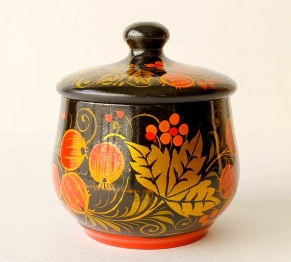 Vintage Trinket Box Hand Painted Lacquered Box Cr… - image 6