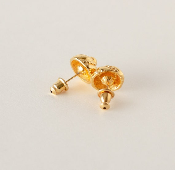 Vintage Monet Gold Swirl Stud Earrings - image 4