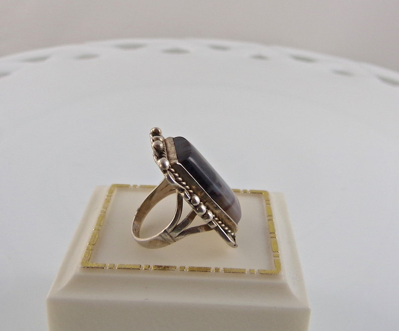 Vintage Sterling Silver Ring Moss Agate Size 7 14
