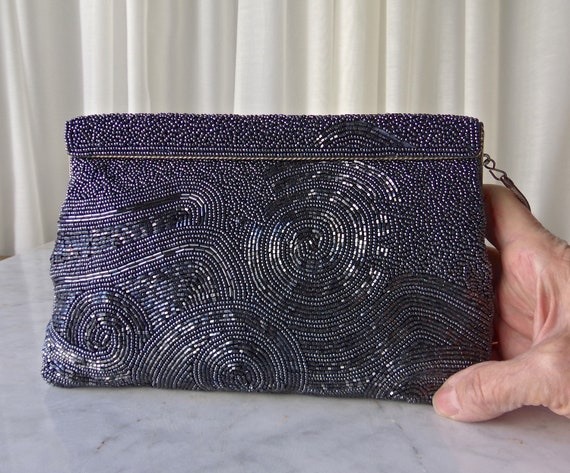 Vintage Silver Gray Beaded Evening Bag Cocktail Pu