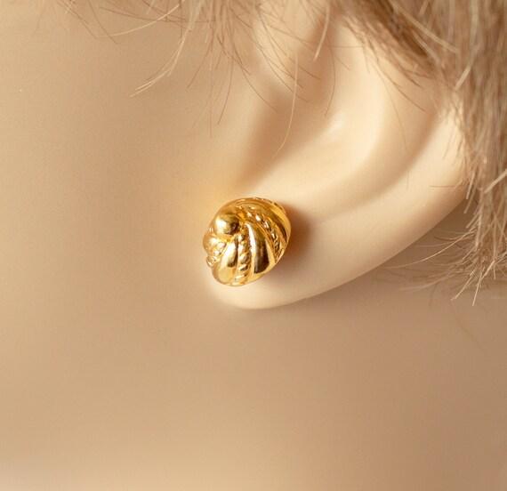 Vintage Monet Gold Swirl Stud Earrings - image 1