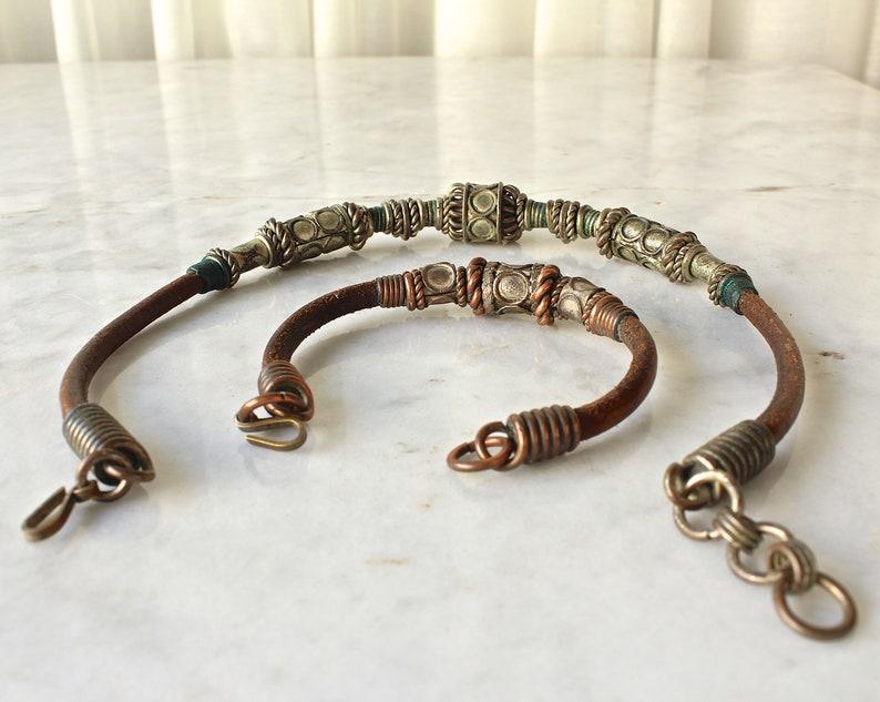 Vintage Leather Necklace and Bracelet Tribal Jewelry Boho Hippie 1970s