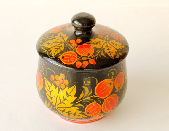 Vintage Trinket Box Hand Painted Lacquered Box Cr… - image 7