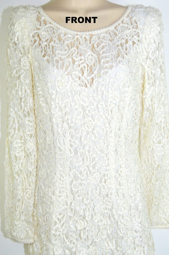 Vintage Pearl-drenched Lace Event Dress