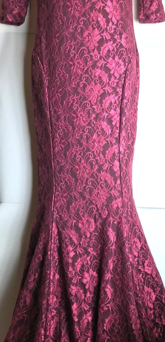 Vintage Burgundy Scarlet Evening Gown