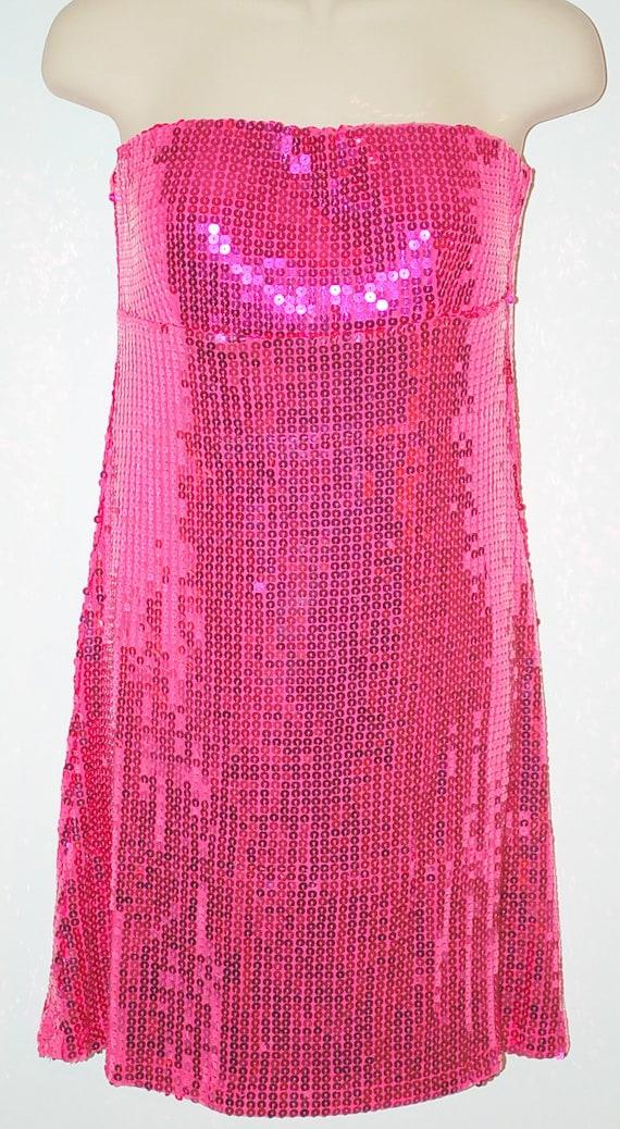 Vintage Sixties Hot Pink Disco Dress