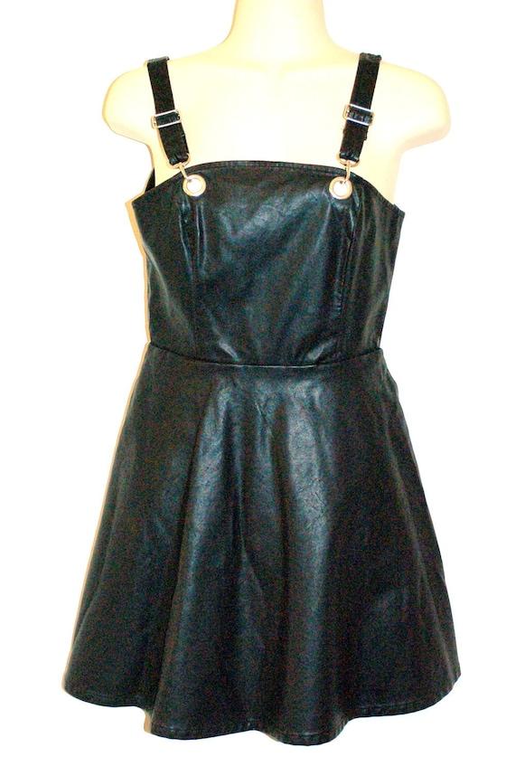 Black Pleather Skater Dress