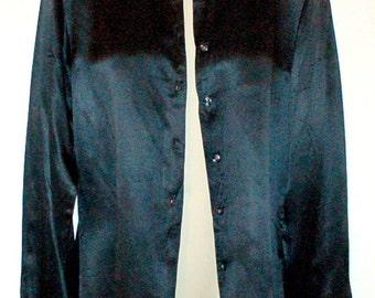 Vintage Black silk shirt blouse