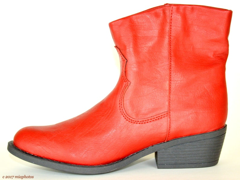Eighties Red Leather Ankle Boots