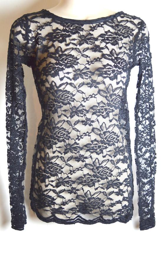 Vintage Sixties Black Lace Mini Dress
