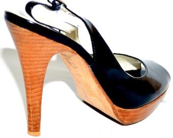 Vintage Steve Madden Patent Leather Peep Toe Sling Backs