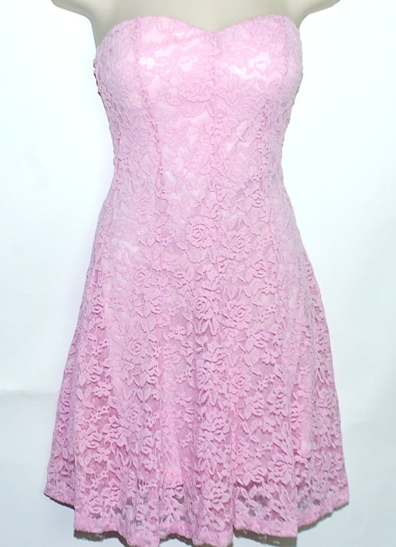 Eighties Pink Lace sleveless dress