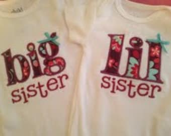 Sisters Matching Shirt Set - Big and Lil Sister Sizes NB - 5T Cotton T shirts or Bodysuits