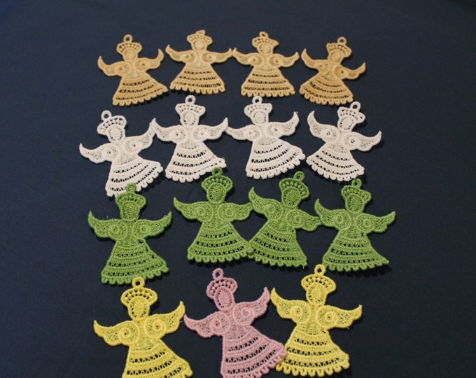 FSL (Free Standing Lace) Angel Ornaments, Machine Embroidery, Set of 15