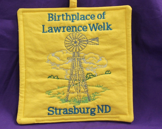 Yellow potholder/hotpad with windmill