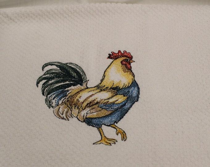 Kitchen Hand Towels, 100% cotton, white, machine embroidery, Chicken, Rooster