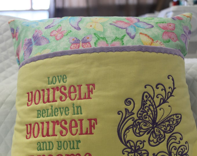 Love yourself reading pocket pillow. Girls, butterflies, greens, yellow,