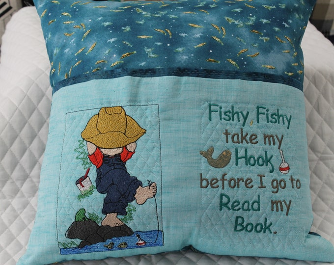 Boys fishing reading pocket pillow