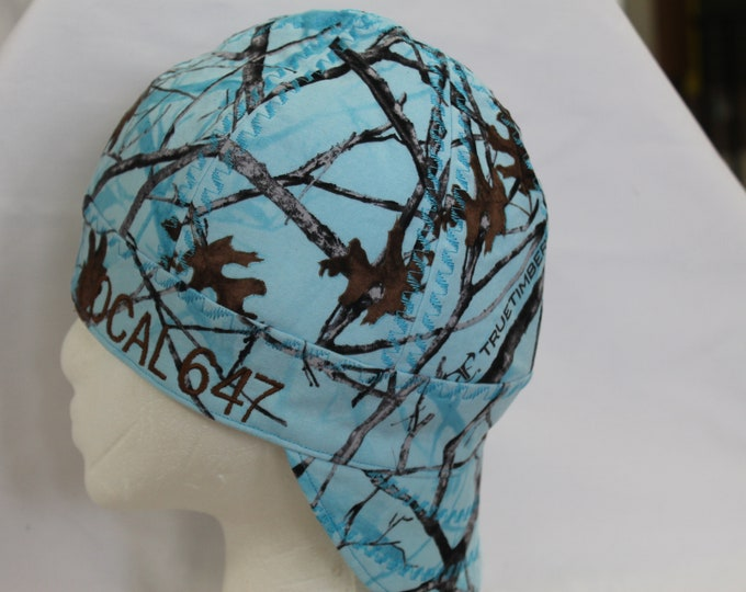 weldingcaps, custom made to fit, Lt. blue camo, lined but not reversible, ninja turtle, Betty Boop, camo,