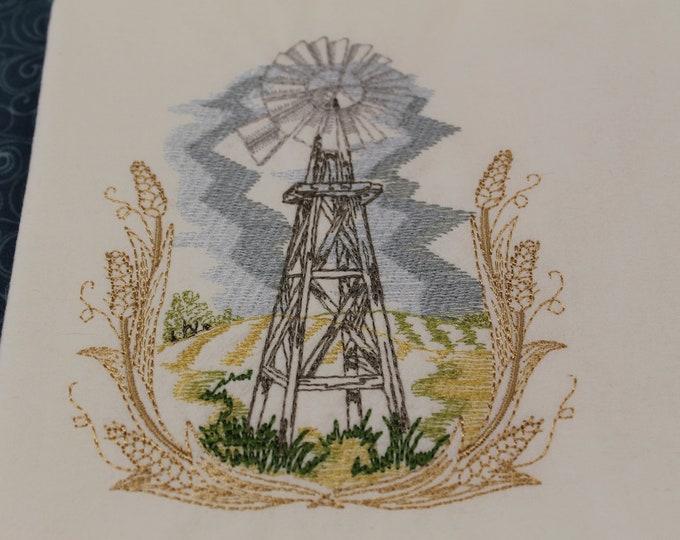 Vintage western windmill machine embroidery on flour sack dishtowel