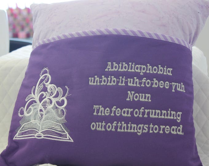 Fear of running out of things to read, Reading Pocket Pillow, Lavender/Purple