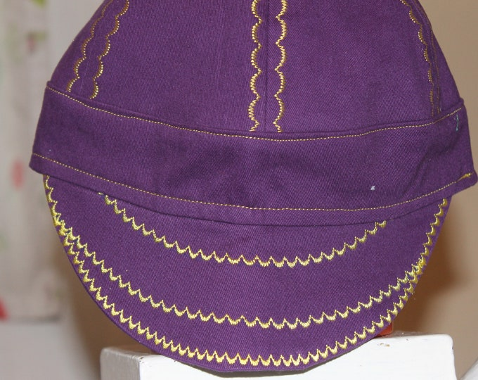 Fitter/welding hat/cap  Purple/gold stitching
