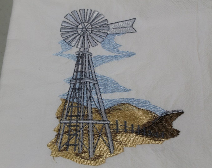 Floursack dishtowel(Windmill and Rolling Hills) Machine embroidery
