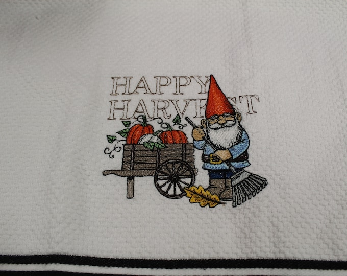 Harvest gnome on white kitchen towel, Fall, Halloween