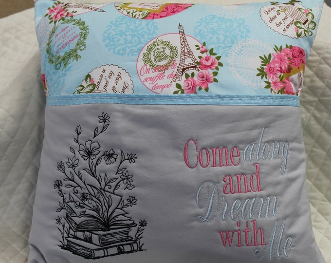 Reading pocket pillow, blues, pink and gray