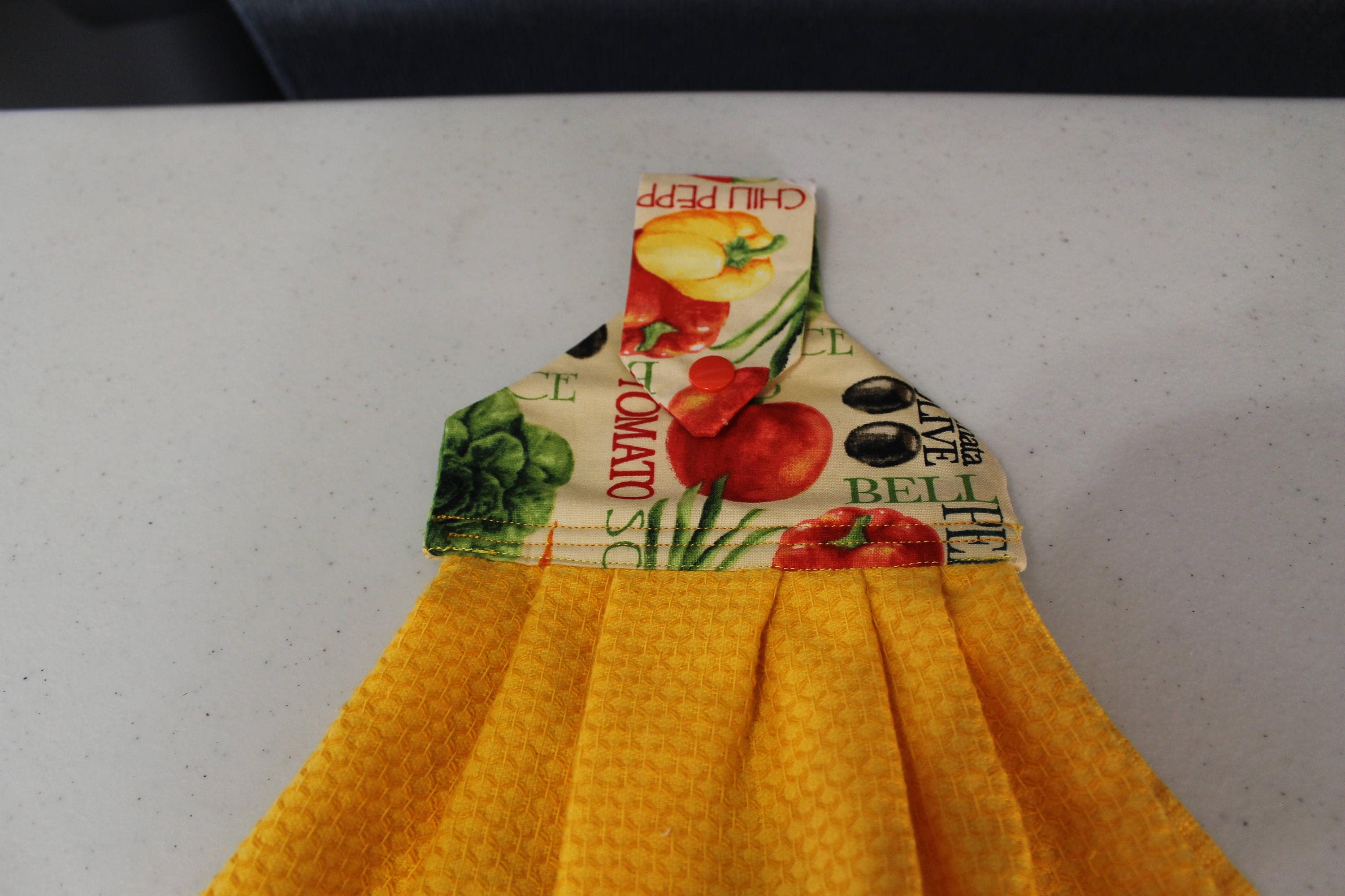 Yellow Hanging Kitchen Towel With Machine Embroidery