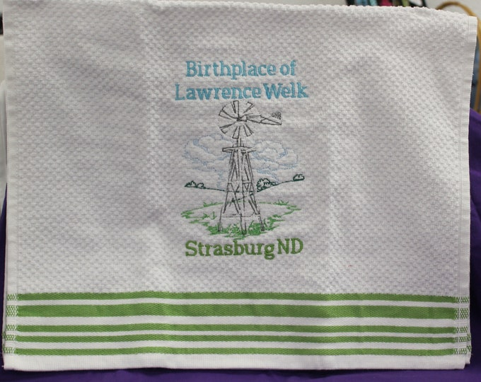Kitchen Towel White w/ Green Trim Birthplace of Lawrence Welk