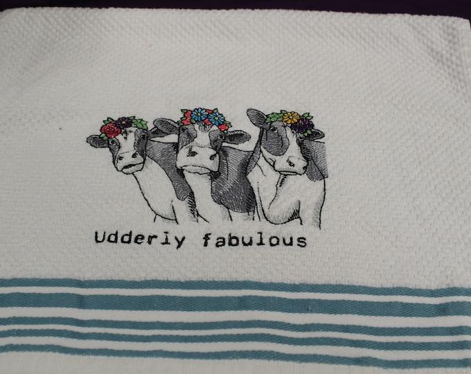 Trio of cows white kitchen towel