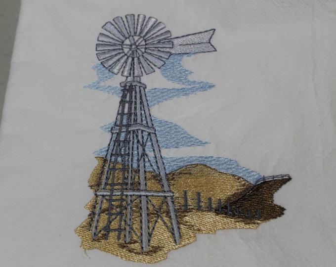 Floursack dishtowel(Windmill and Rolling Hills) Machine embroidery