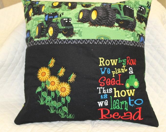 John Deere tractor pocket pillow
