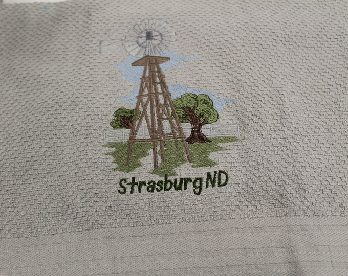 Gray Kitchen hand towel with windmill