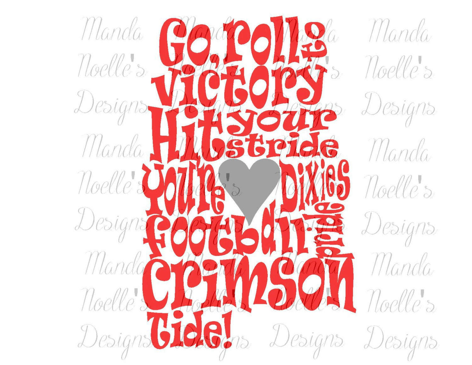 Alabama Crimson Tide Fight Song SVG DXF Print Silhouette | Etsy