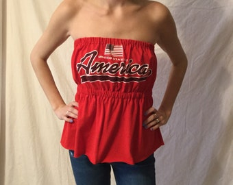296d7f789b America Tee Shirt USA 4th of July gear Military shirt dress top USA  American flag shirt strapless top Womans graphic tee Patriotic USA shirt
