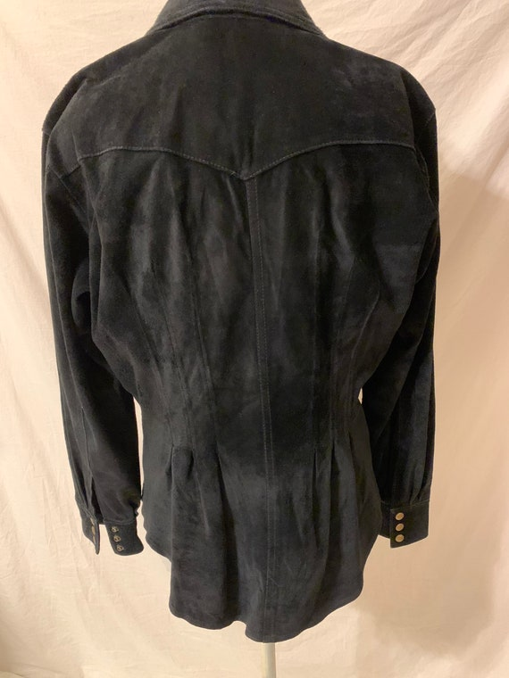 Vintage womens Leather Shirt Black Suede 80s 90s … - image 8