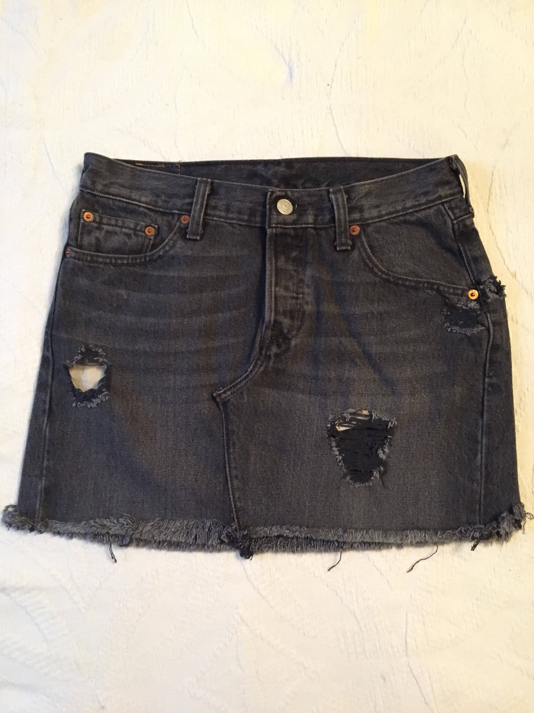 6a9ce6aa0aa3 Levis 501 button fly Black Mini Denim Skirt Repurposed Levi | Etsy