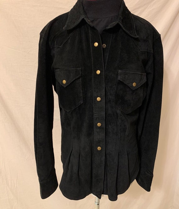 Vintage womens Leather Shirt Black Suede 80s 90s … - image 1